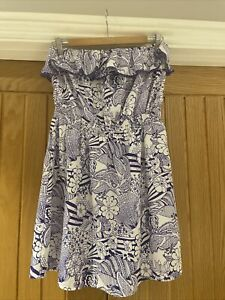 Debenhsms White Print Strapless Pull On Beach Cover Up Dress - Size 12