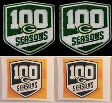 GREEN BAY PACKERS 100 SEASONS TWO (2) PATCH SET 100th SEASON RODGERS + STICKERS