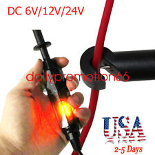 Universal Auto Car Truck Voltage Circuit 6/12/24Vdc Hook Probe Test Light Pencil