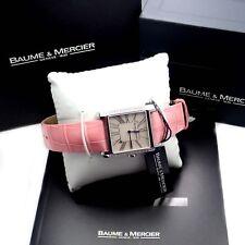 Authentic! Baume & Mercier Stainless Steel Pink Ladies Diamond Hampton Watch