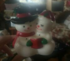 Vintage Wax Snowman couple Double Wick Christmas Candle unused new old stock