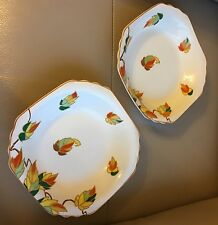 1930s Pair Bowls Art Deco 2 Wedgwood & Co Ivory orange stylised geometric dishes