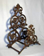 Scrolling VICTORIAN Cast Iron WALL MOUNT GARDEN HOSE HOLDER ~ Antiqued  Brown ~