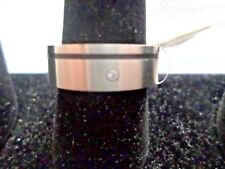 Stainless Steel Ring, 8mm brushed, black enamel with CZ