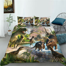 3D Dinosaur Paradise Design Bed Comforter Cover & Pillowcase Twin Size