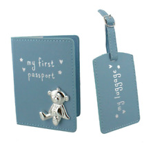 Button Corner Blue My First Passport Cover Holder and Luggage Tag Set Gift