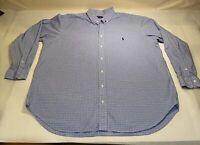 Ralph Lauren Sz 2XB Big Blue Checkered L/S 100% Cotton Button Down Casual Shirt