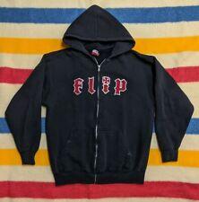 VTG Flip Skateboard Classic Spellout Logo Hooded Zipper Distressed Jacket M