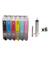 6- Refillable Ink Cartridges for Epson Stylus Photo R260 R280 R380 NON-OEM