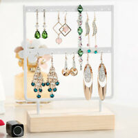 2 Layer Wooden Earring Display Stand Holder Jewelry Necklace Rack Organizer