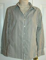Cabi Women's Gray & White Striped Button Front Shirt Size L