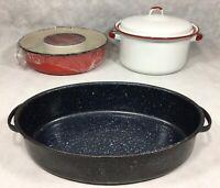 Cream City Ware Bundt Pan Mold White Red Enamel Handled Stock Pot Black Oval Lot