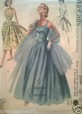 Vintage 50's McCALL'S  EVENING PROM WEDDING COCKTAIL DRESS GOWN Sewing Pattern