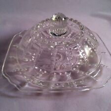 RARE VINTAGE FEDERAL GLASS COLUMBIA PATTERN  COVERED ROUND BUTTER DiISH W/ Lid
