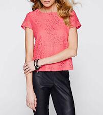 Figurbetonte Damen-Shirts mit Rundhals-Ausschnitt aus Spitze
