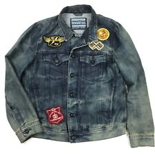 Ring Of Fire Mens Denim Jackets Dirty Wash Faded with Patchwork Size Small