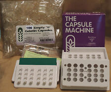 "CAPSULE FILLING MACHINE Size ""0"" + 100 Empty Gelatin Capsules - Complete Kit"