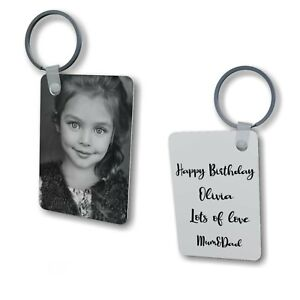 Personalised Photo/Text Plastic Rectangle Keyring Gift For Mum Dad Friends
