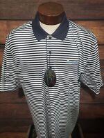 Greg Norman Mens 2XL XXL Blue White Striped Short Sleeve Golf Polo Shirt New