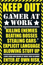 Keep Out Gamer At Work - Warning Sign POSTER 61x91cm NEW * Enter At Own Risk