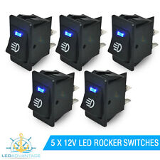 5 X 12V BOAT/CARAVAN/CAR/DASH BLUE LED LIGHT ILLUMINATED ON/OFF ROCKER SWITCH