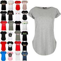 Womens Curved Hem Jersey Plain Top Ladies Round Neck Turn Up Cap Sleeve T Shirt