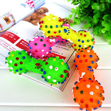 Pet Chew Toy Soft Small Rubber Bone Squeaky Toy Colorful Dot For Puppy Dog Cat