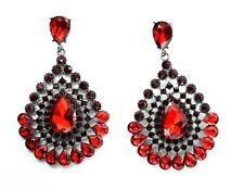 New Red Tone Crystal Style Drop Down Dangle Chandelier Earrings Design Fashion
