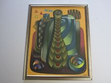CENDROS? MYSTERY ARTIST PAINTING ABSTRACT CUBIST CUBISM MODERNISM VINTAGE SIGNED