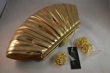 BELLA COLLECTION LADIES CLUTCH PURSE Gold with jeweled Clasp NEW