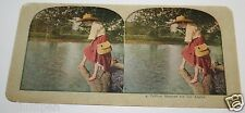 Original 1900's Antique Woman Catching Fish With A Cane Fishing Poll Stereoview