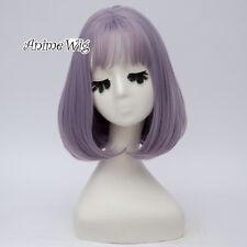 Lolita Bob Mixed Ash Purple Ombre Bangs Women Halloween Hair Cosplay Wig+Cap