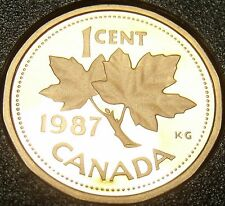Cameo Proof Canada 1987 Maple Leaf Cent~179,004 Minted~Free Shipping