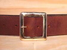 Brass Square 2 Inch Leather Jean Belt Waist Size Mens Ladies Black Brown Tan Fit