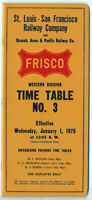 1975 FRISCO ST. LOUIS SAN FRANCISCO RAILWAY CO. TIME TABLE #3 WESTERN DIVISION