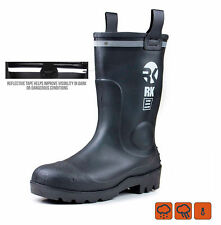 RK Mens Waterproof Rubber Sole Rain Boots - RKBS-BLK