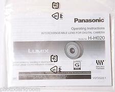 Panasonic Lens H-H020 Instruction Manual Book - English - NEW M6