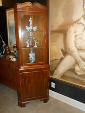 Chippendale  Antique Style Mahogany Corner Cabinet w/ Glass Door ..Great Size!