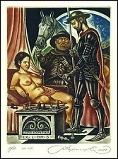 Kirnitskiy Sergey 2011 Exlibris C4 Don Quichote Quijote Erotic Chess Schach 194