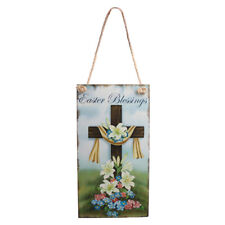 Rustic Wooden Easter Blessings Cross Flower Decor Door Wall Directive Sign