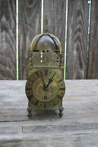 English miniature vintage lantern clock w/ carriage clock movement ,good quality
