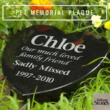 Pet Memorial Plaque - Granite Heart Shape  - Personalised - Made to Order
