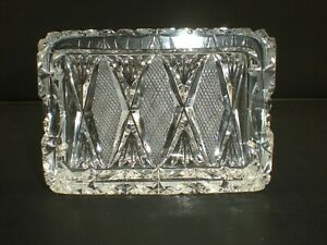 FINE Vintage Heavy Cut Glass Rectangle Ashtray Diamonds Crosshatch & Fans