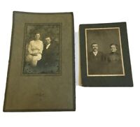 2 Antique Couples Marriage Old Professional Photographs Ohio Bucyrus New Washing