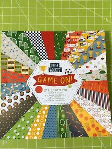 """Paper Addicts Paper Pad - 12"""" x 12"""" - scrapbooking cardmaking, Game on 24 sheets"""