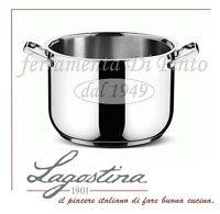 PENTOLA ACCIAIO INOX 18/10 LAGOSTINA SFIZIOSA CM. 22 28 CASSERUOLA TEGAME