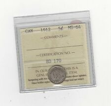 **1912**, ICCS Graded Canadian,  5 Cent, **MS-64**
