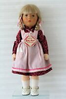"Kathe Kruse Stoffpuppe Doll 15"" Maroon Print dress Gingham Apron 15"" Sept.1983"