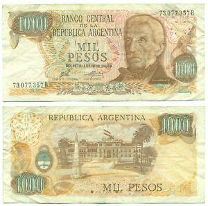ARGENTINA NOTE 1000 PESOS (1976) PORTA-MONDELLI SUFFIX B B# 2442 P 299 VF