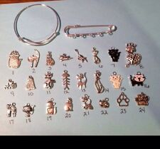 Kilt Pin Customizable Cat Kitty Theme 5 Silver Charms Visor Purse Brooch Skirt